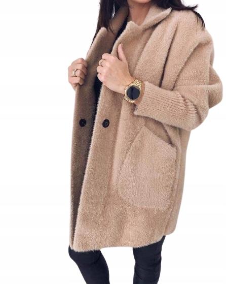 Alpaka kardigan sweter karmel standard 9744590076 Odzież Damska Swetry RN OQPFRN-9