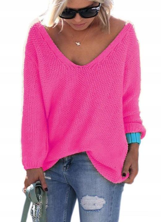 Mikos Luźny Sweter damski w serek z dekoltem V 617 8077477890 Odzież Damska Swetry CA URXICA-9