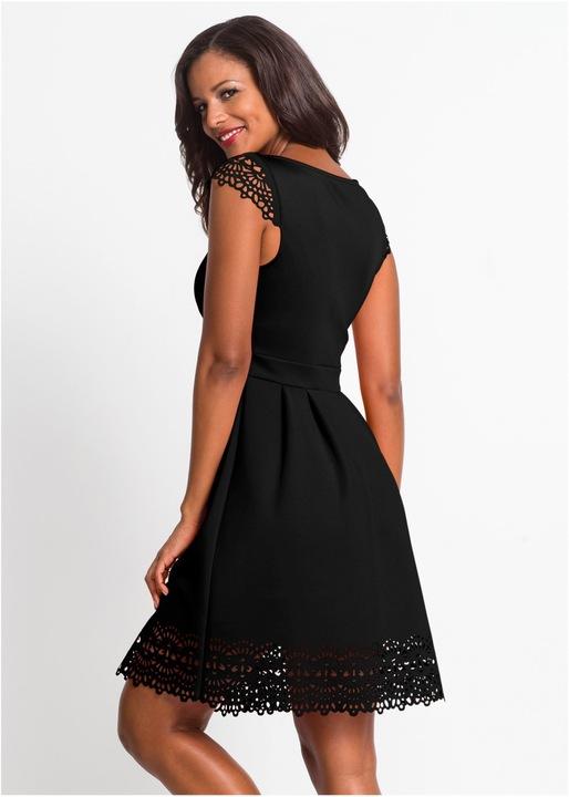 *B.P.C Sukienka czarna z laserowym ażurem 40/42. 9818015118 Odzież Damska Sukienki wieczorowe OC WODJOC-9