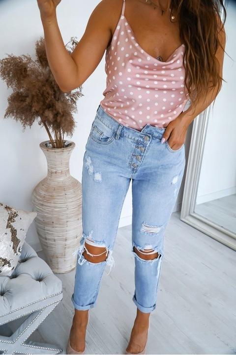 Włoskie jeansy BOYFRIEND dziury guziki BAGGY 36 S 9198504624 Odzież Damska Jeansy CB GMPHCB-5
