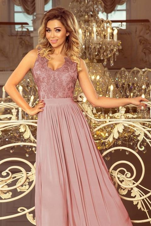 215-5 Długa suknia z haftowanym dekoltem TAUPE r.L 9599533247 Odzież Damska Sukienki wieczorowe HN WBEVHN-2