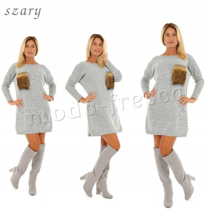 M920 sweterkowa SUKIENKA tunika FUTERKOWA kieszeń 8396997224 Odzież Damska Swetry CZ CJMLCZ-1