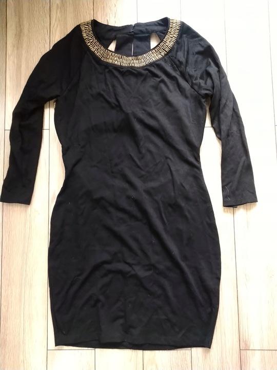 ASOS czarna sukienka ze złotymi koralikami roz. 42 9823668189 Odzież Damska Sukienki wieczorowe VG OVEZVG-6