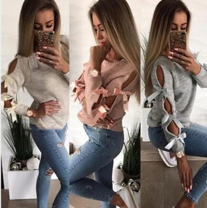 Sweter z kokardami miętowy 9696270074 Odzież Damska Swetry TL PQVNTL-4