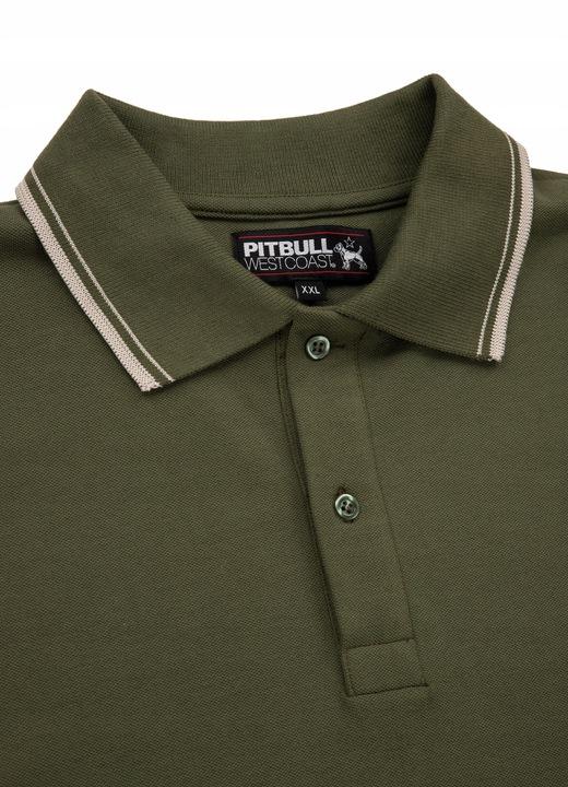 Polo Slim Logo Stripes Pit Bull (L) Oliwkowe 9696826778 Odzież Męska Koszulki polo YO YXARYO-6