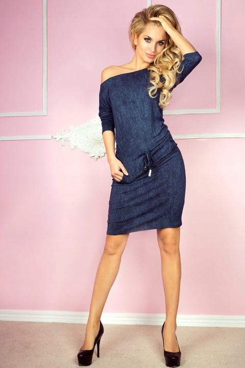 Sukienka Model 13-19 Jeans Navy - S 9599695746 Odzież Damska Sukienki YN XGIJYN-5