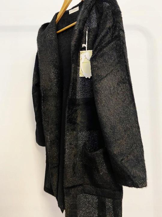 Długi kardigan z brokatem 9839623345 Odzież Damska Swetry NH WUCNNH-8