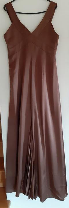Długa elegancka sukienka,New Jotes,38/40,BDB,brąz 9737409227 Odzież Damska Sukienki wieczorowe TJ IUDOTJ-8