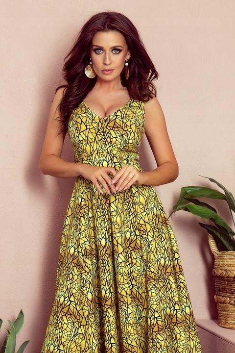 246-2 CINDY długa suknia z dekoltem ZŁOTA 42 XL 8428319810 Odzież Damska Sukienki wieczorowe EP WWPQEP-9