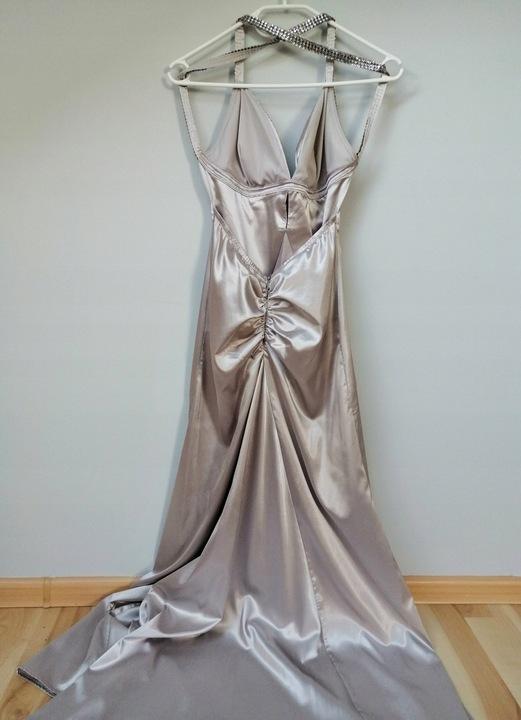 Piękna srebrna satynowa sukienka rozmiar XS/S 9639169801 Odzież Damska Sukienki wieczorowe IZ CZRYIZ-7