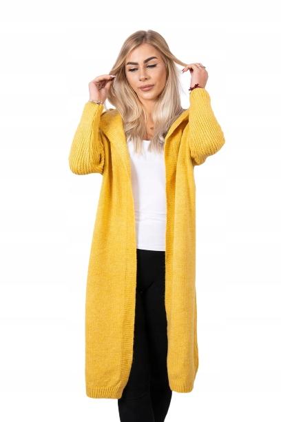 Kardigan sweter długi z kapturem, oversize 9808860221 Odzież Damska Swetry PA XVXFPA-8