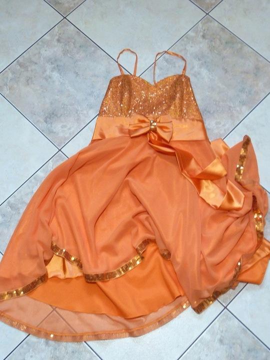 Sukienka koktajlowa cekiny soczysta pomarańcz M/38 9681314752 Odzież Damska Sukienki wieczorowe HI MELTHI-1