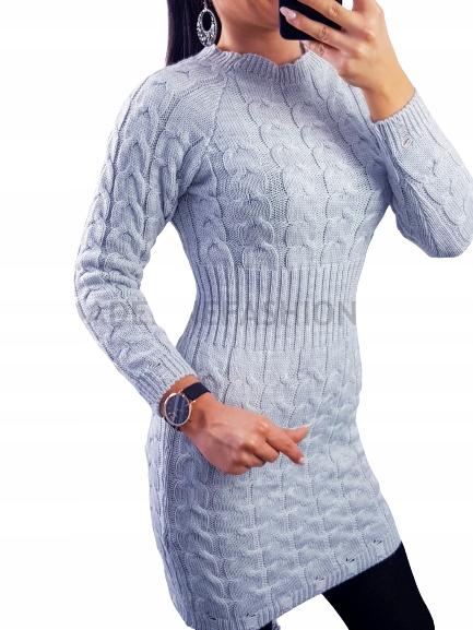 SUKIENKA SWETERKOWA TUNIKA DOPASOWANA JODEŁKA 9656578493 Odzież Damska Swetry FN JXLHFN-4