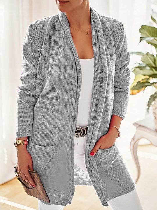 Efektowny mięciutki kobiecy KARDIGAN SWETER 7856011960 Odzież Damska Swetry BE ATHDBE-4