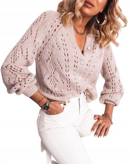 Sweter ażurowy rozpinany pastelowy fiolet 9584707382 Odzież Damska Swetry OJ PFAROJ-7