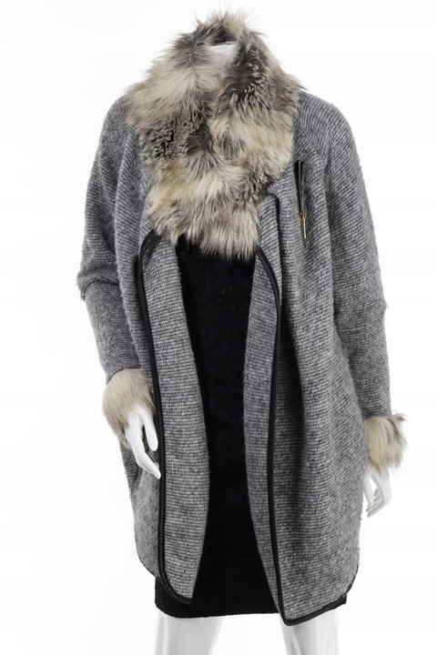 Włoski Sweter długi kardigan szary R.M/L 9707905511 Odzież Damska Swetry TZ YCZYTZ-9