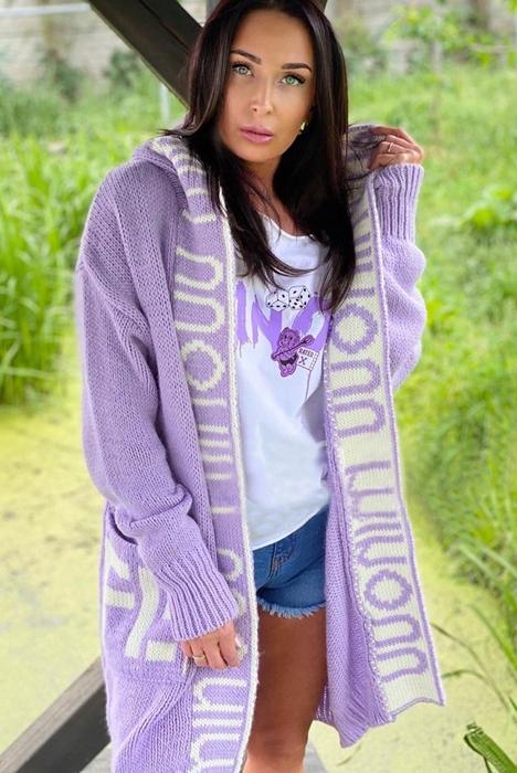 Sweter narzutka kardigan z kapturem Minouu 9634846209 Odzież Damska Swetry VV OTODVV-8