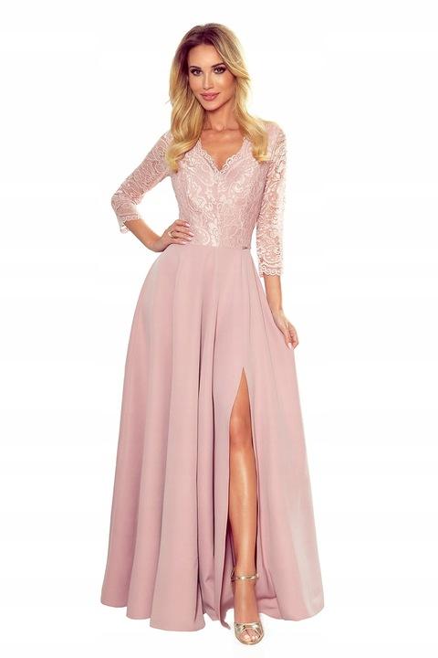 Elegancka koronkowa długa suknia z dekoltem bal S 9718598169 Odzież Damska Sukienki wieczorowe RB SOTQRB-3