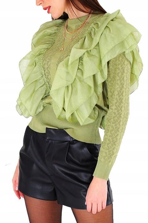 Sweter alpaka bluzka kardigan falbanki oliwka L/XL 9684918644 Odzież Damska Swetry AF ZNRYAF-3
