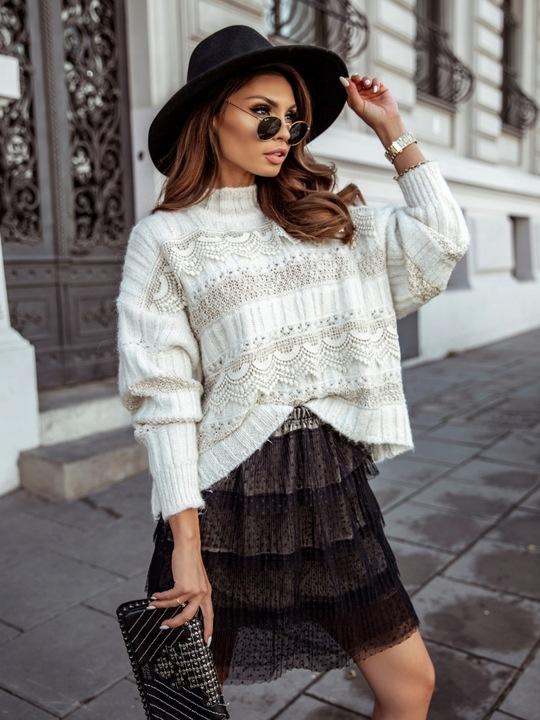 ButikNo5 Sweter Cocomore PÓłgolf Ecru+Beż+Koronka 9812696076 Odzież Damska Swetry QR PZKUQR-9