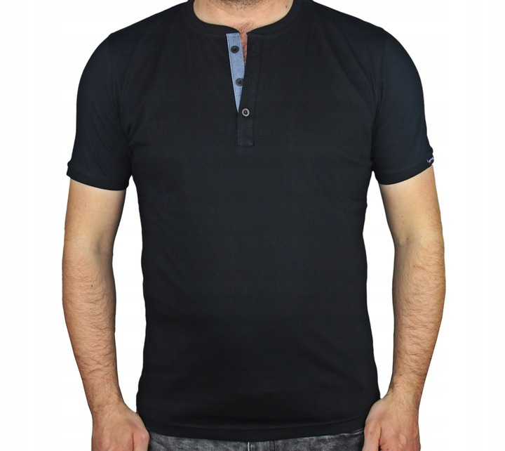 Koszulka męska CZARNY T-SHIRT ROZPINANY GUZIK 2xl 9303390381 Odzież Męska Koszulki polo WB QTSBWB-4