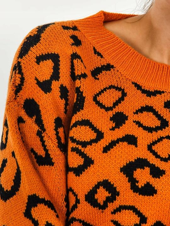 SWETER DAMSKI W PANTERKĘ POMARAŃCZOWY L/XL 9726982757 Odzież Damska Swetry FE YKWIFE-3