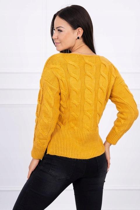 KrÓtki damski sweter z dłuższym tyłem MUSZTARDOWY 8903749577 Odzież Damska Swetry NB XOVFNB-3