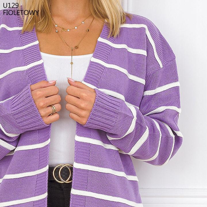 PIĘKNY KARDIGAN NARZUTKA WYPUKŁE PASKI UNI U129 9819171367 Odzież Damska Swetry MI YCOIMI-8