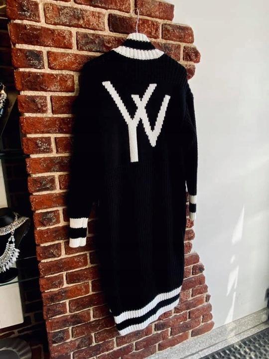 Sweter Cocomore kardigan długi czarny z logo 9804235188 Odzież Damska Swetry BI HGLEBI-3