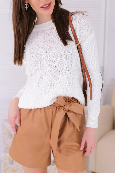 Sweter Bluzka z perłami ażurowy splot ekri 9769936781 Odzież Damska Swetry HO NYJFHO-8
