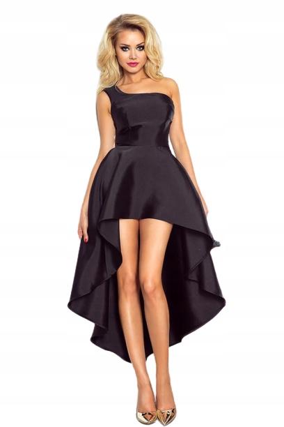 CZARNA ASYMETRYCZNA SUKIENKA NA JEDNO RAMIĘ XS 8856091409 Odzież Damska Sukienki wieczorowe KY OMQXKY-5