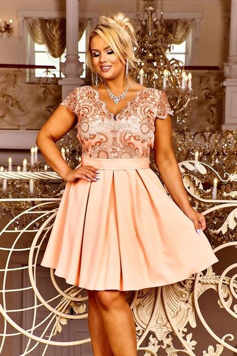 Diana PASTEL PINK ROZKLOSZOWANA SUKIENKA wesele L 9398553332 Odzież Damska Sukienki wieczorowe DG MUJPDG-1