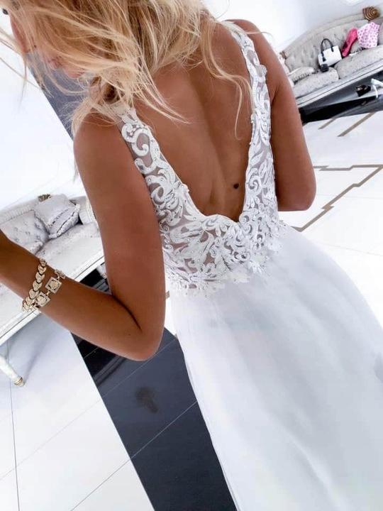 Penelopa BIAŁA DŁUGA SUKIENKA z GIPIURĄ ślub M 9663801175 Odzież Damska Sukienki wieczorowe EM IXVFEM-1