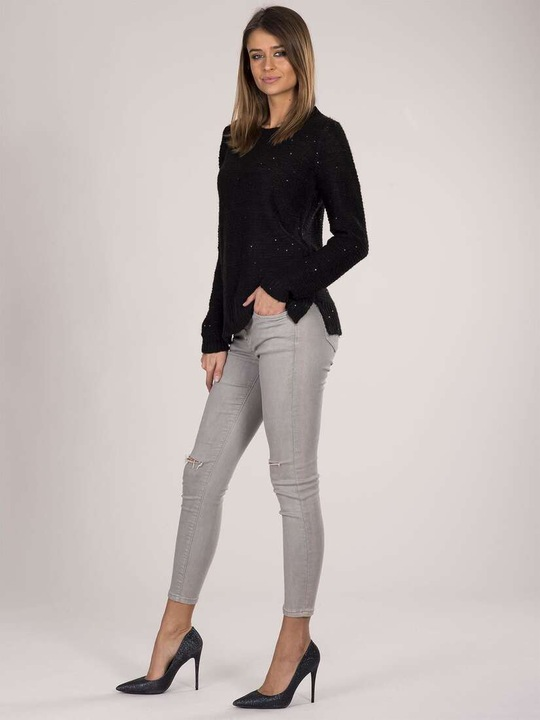 Sweter z cekinami czarny 9471493979 Odzież Damska Swetry HP TOREHP-2