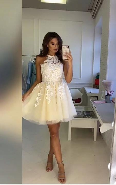 Lolita ECRU ROZKLOSZOWANA z tiulem ślub wesele M 9638126479 Odzież Damska Sukienki wieczorowe UX QUAXUX-5