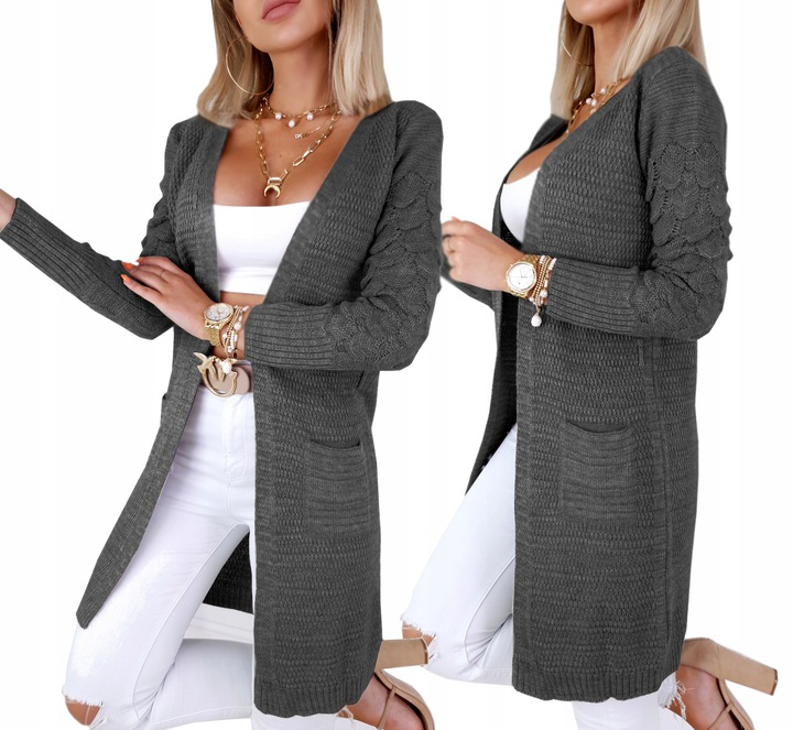 Efektowny KOBIECY KARDIGAN Mięciutki Sweter KOLORY 9573372198 Odzież Damska Swetry ZI DCJGZI-1