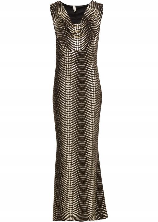 B.P.C czarno-złota sukienka wieczorowa 36/38. 9811043405 Odzież Damska Sukienki wieczorowe ZV GTNSZV-2