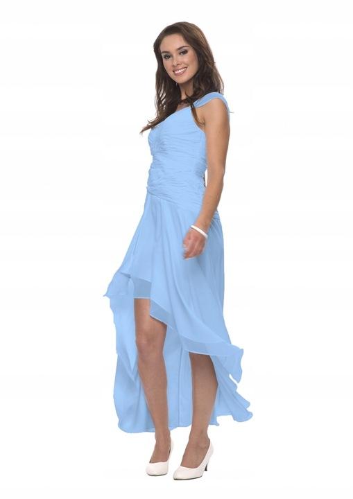 Błękitna Wieczorowa Sukienka na Ramiączkach 9776183187 Odzież Damska Sukienki wieczorowe SH MGBLSH-6