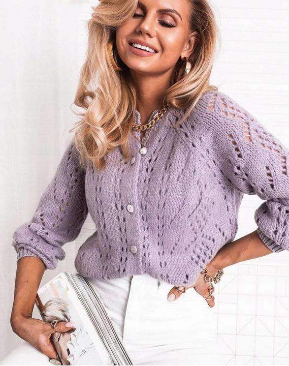 Sweter ażurowy rozpinany niebieski 9616523126 Odzież Damska Swetry BK WFSUBK-3