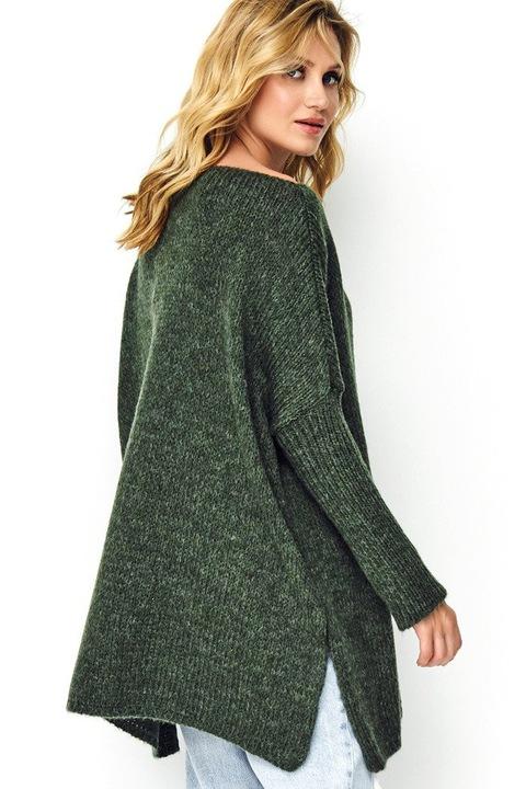 KLASYCZNY wygodny sweter z rozcięciami KHAKI 9834886797 Odzież Damska Swetry AS IXCIAS-9