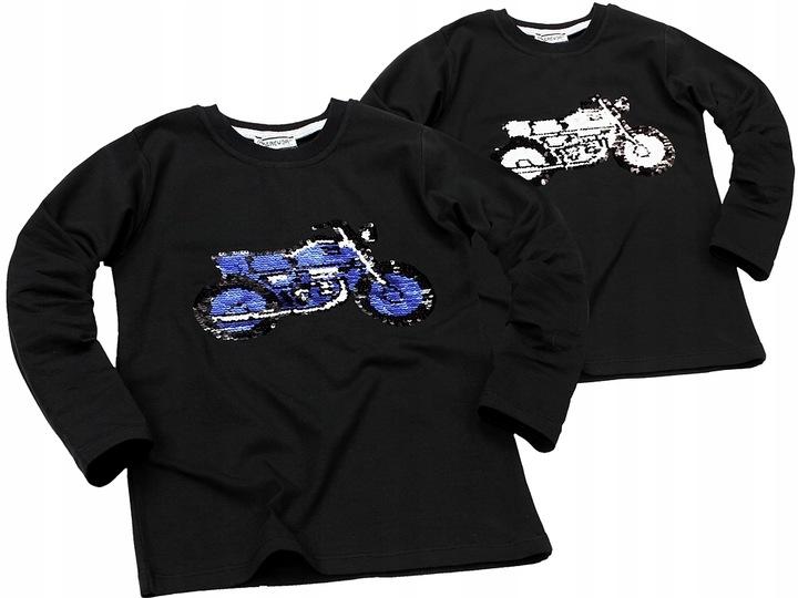 Bluzka MOTOCYKL Magiczne CEKINY Motor RĘKAW 140 9550161104 Dziecięce Odzież UW DWBYUW-7