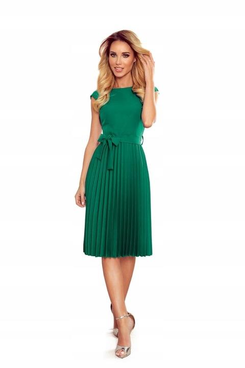 311-3 Plisowana sukienka krÓtki rękaw -ZIELEŃ L 9643632408 Odzież Damska Sukienki wieczorowe UW BUABUW-6