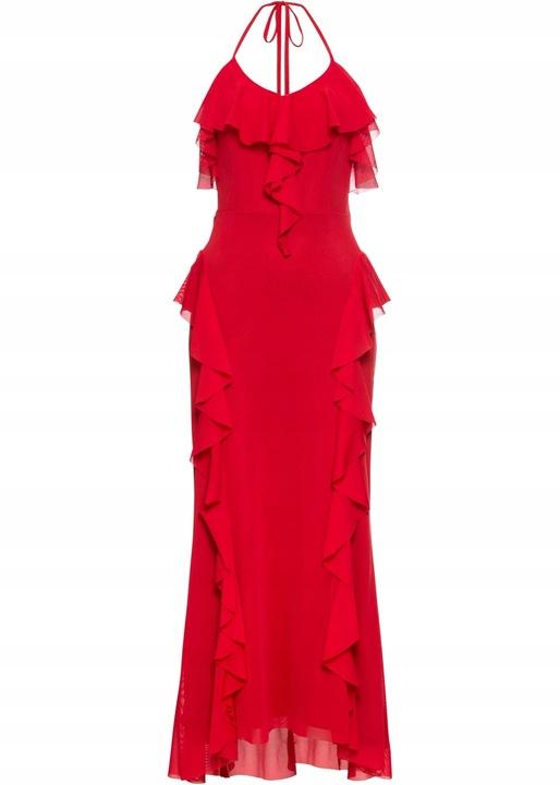E129 BPC Sukienka maxi z falbanami r.44/46 9806446769 Odzież Damska Sukienki wieczorowe IR JUCUIR-2