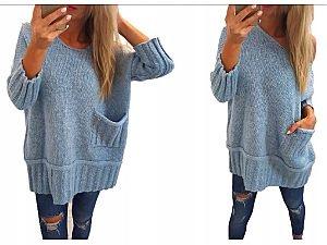 CUDNY sweter OVERSIZE cocomore BŁĘKIT FUKSJA HIT 9824669588 Odzież Damska Swetry NJ XHSGNJ-9