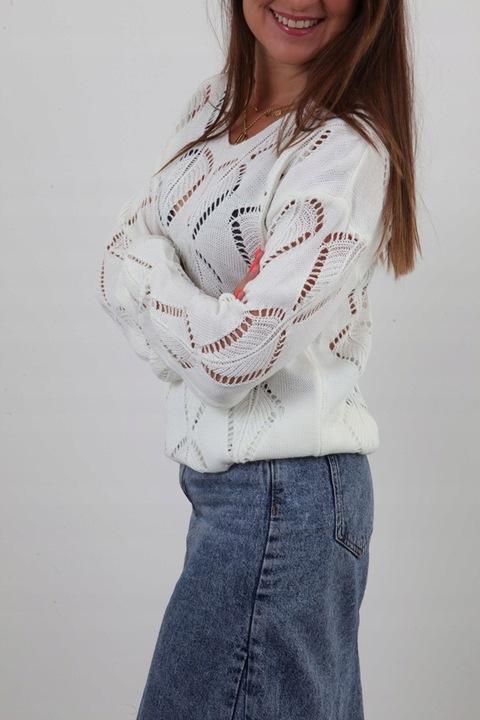 AŻUROWY MODNY LEKKI SWETEREK DELIKATNY AŻUR KOLORY 9632874113 Odzież Damska Swetry YF RIIMYF-1