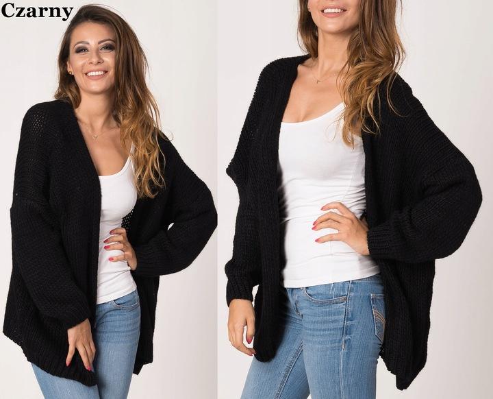 Czarny damski sweter Narzutka 9433839203 Odzież Damska Swetry OP LGAAOP-7