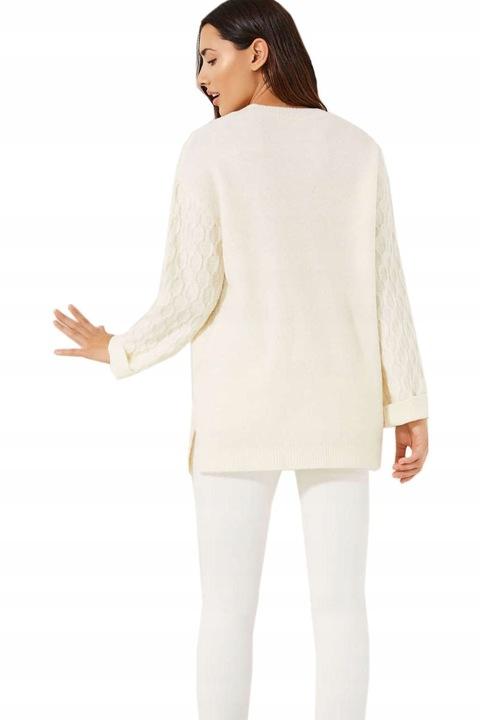 J.Fresh Kobiecy Biały Sweter Wełna Oversize S 36 9744635992 Odzież Damska Swetry AW TPDZAW-1