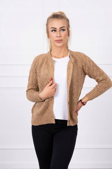 Sweterek ażurowy zapinany na guziki camelowy 9559978272 Odzież Damska Swetry VG YNYFVG-7